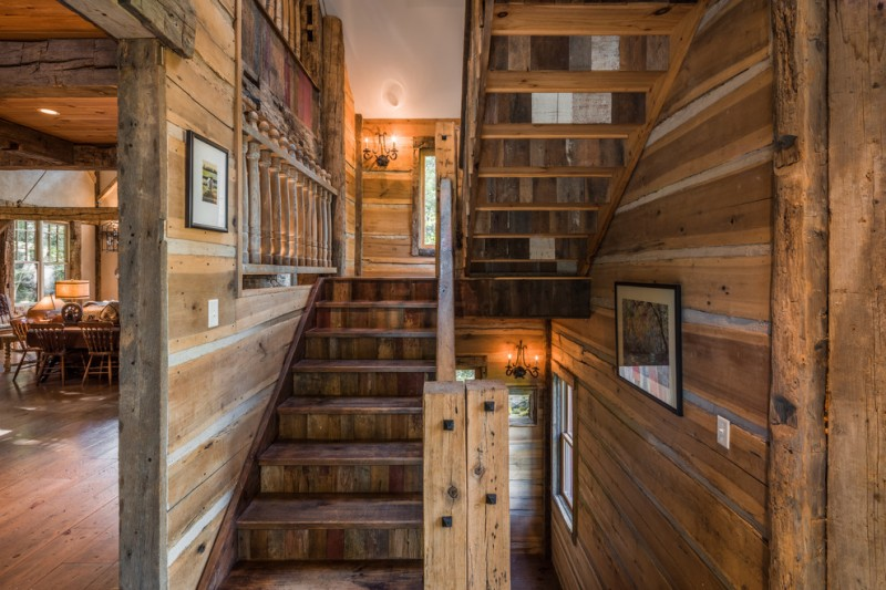 exotic rustic staircase idea made of antique timbers and logs