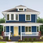 Exterior Paint With Blue On The Wall, White On The Window's And Door's Frame, And Yellow On The Door