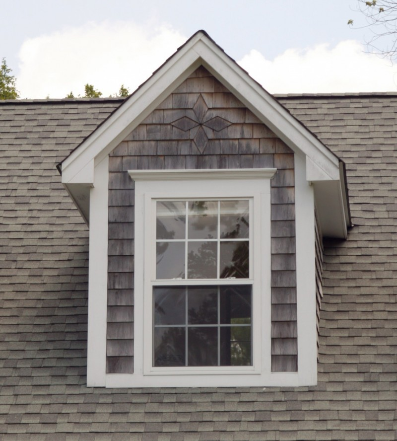 exterior showroom window model with white trims and shabby grey window walls