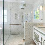 Glass Door Walk In Shower Idea With Contrast Look Floors And Walls