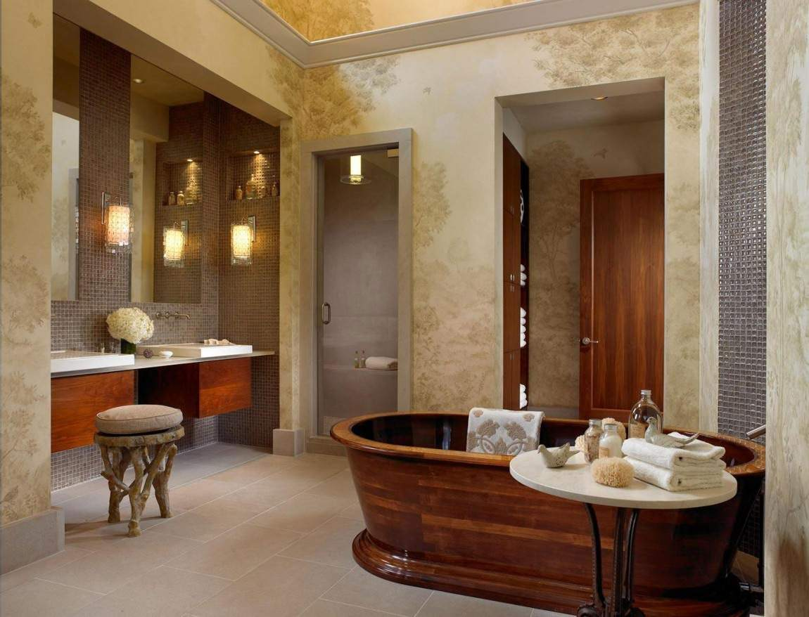 glossy wooden free standing bathtub mosaic tiles wall marble wall contemporary vanity unit customized stool
