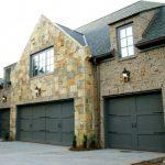 Green Stain Garage Wooden Garage Brick Wall Stone Wall Grey Roof