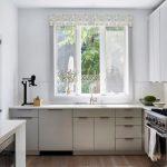 Grey Quartz Countertop White Kitchen Cabinets Faucet Sink Window Glass Wood Floor Stove Door Cabinets