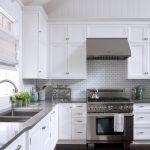 Grey Quartz Countertop White Kitchen Dark Floor Stove Wall Tile Cabinets Faucet Sink Window White Ceiling