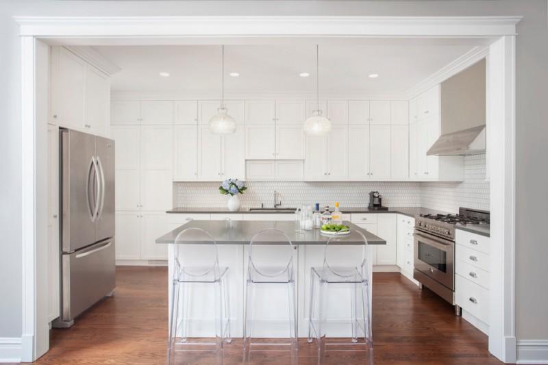 grey quartz countertop white kitchen wood floor modern chairs cabinets storage lights