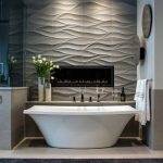 Grey Stone Wall Wave Patterned Wall Contemporary Free Standing Bathtub Dark Colored Runner Custom Fireplace