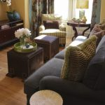 Grey Upholstered Sofa With Brown Leathered Ottomans For Table