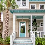 Home Exterior Paint With Beige In The Wall, Blue Turquoise In Roof, White In Windo Frame, Door Frame, Posts, Rails