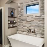 Horizontally Veined Wall Rustic Marble Wall Contemporary Free Standing Bathtub Floating Shelves Grey Marble Tiles