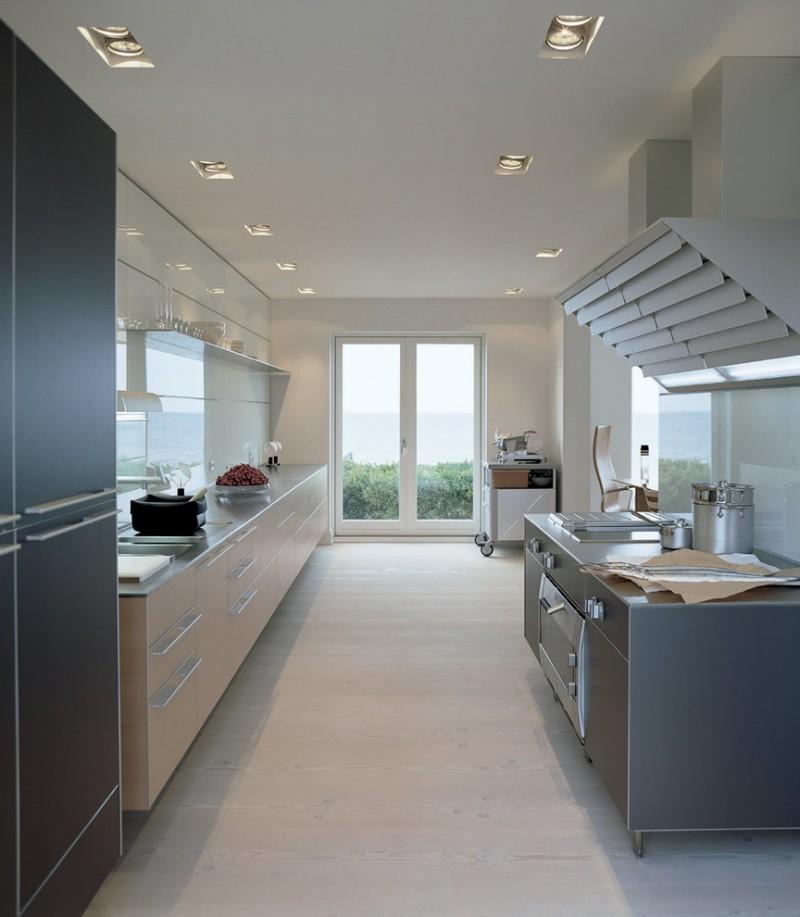 kitchen flooring ceiling lamps light hardwood floor glass door storage space appliances metal cooking equipment
