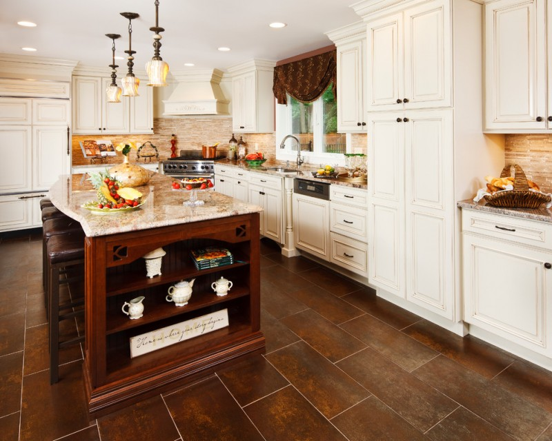 kitchen flooring dark brown wall cabinets white big windows curtain faucet sink dining chairs table countertop ceiling lamps hanging lights white