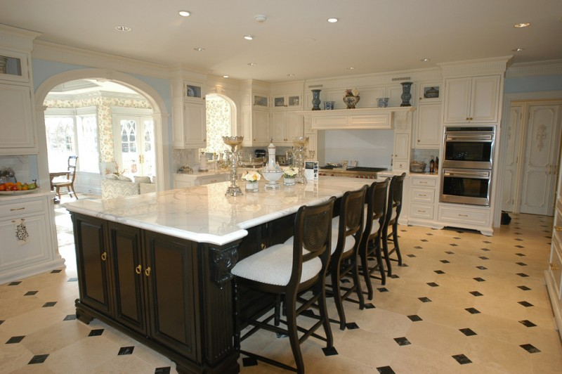 kitchen flooring dining chairs cabinets drawers floor patterns dining table door ceiling lamps light blue wall