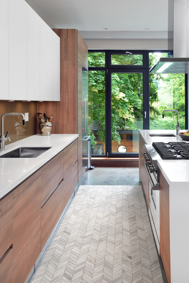 kitchen flooring glass door stove faucet sink wall storage wood white surface chevron like floor tile patterns