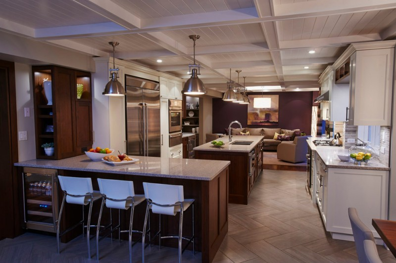 kitchen flooring tall dining chairs hanging lamps sofas faucet sink cabinets white ceiling wood countertop wall decor