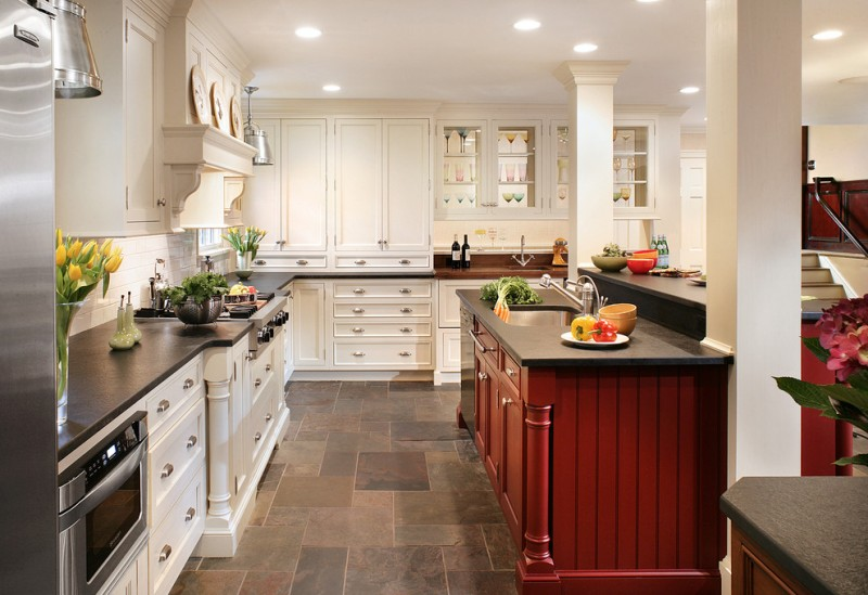 kitchen flooring traditional style ceiling lamp cabinets drawers stairs flowers faucet sink bowls stove appliances