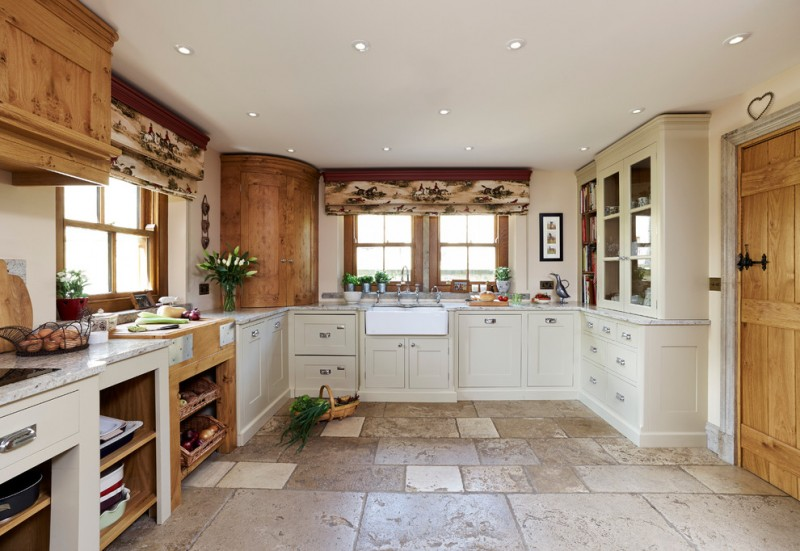 kitchen flooring traditional style curtains wall storage wooden door ceiling lamps corner cabinet appliances