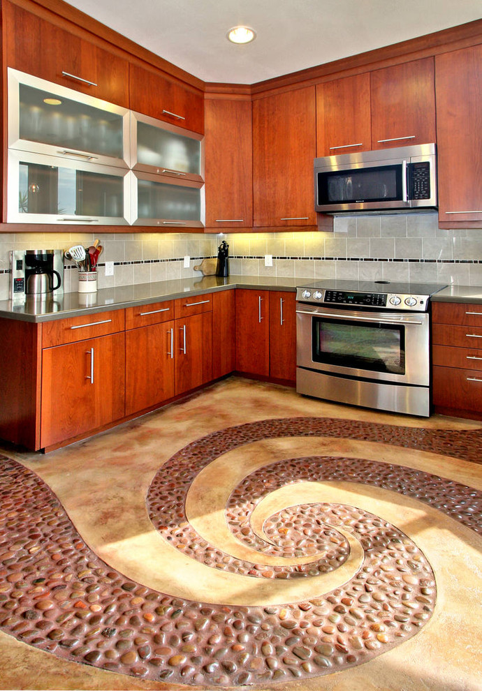 kitchen flooring whirlpool floor ceiling lamp wood wall cabinets glass drawers appliances stove wall tile