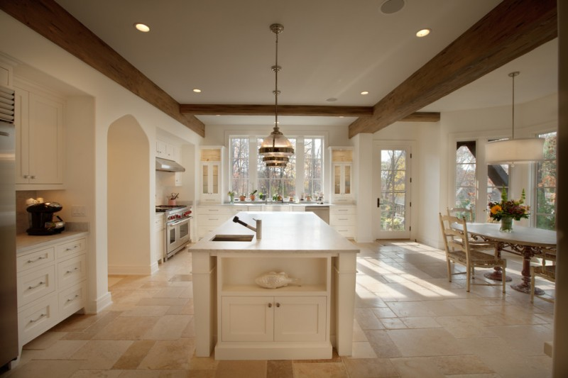 kitchen flooring white wall ceiling lamp dining chairs table cabinets door glass windows travertine wood