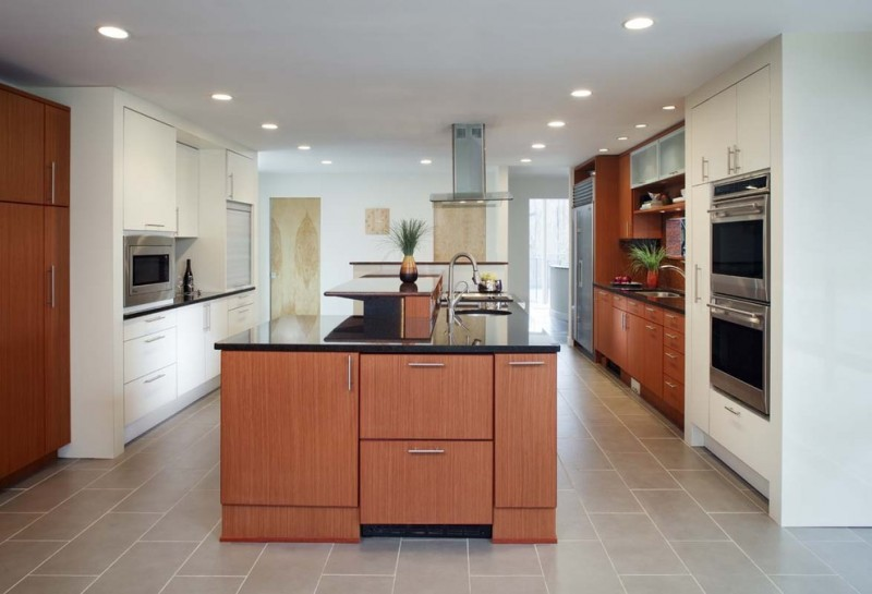 kitchen flooring wooden cabinets sink faucet ceiling lamps limestone floor wall decor kitchen appliances