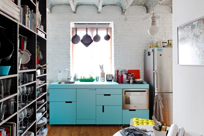 kitchen with high shelves