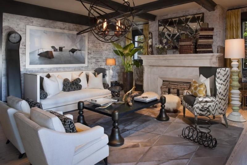 living room with white seating sofa set, dark wood coffee table, high black steel clock, animal bone artefact, copper chandelier, white fur ottoman, plants