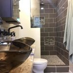 Long Small Master Bathroom With Shower Area, Toilet, Two Sinks