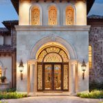 Luxurious House Door Design Front Door Mediterranean Style Complex Patterns Flowers Traditional Style Lamp