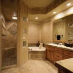 Mediterranean Bathroom With Walk In Shower Room Without Door With Mosaic Tile Flooring, Brown Tiles On All Wall Surface