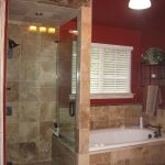 Mediterranean Bathroom With Walk In Showers Without Door With Glass Door Partition To The Bathtub Area