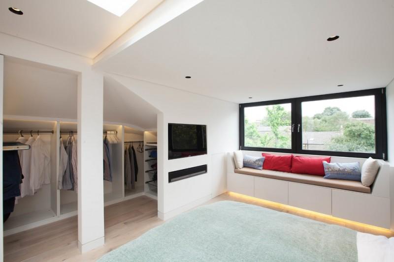 mini walk in closet for men minimalist sofa under window recessed TV set