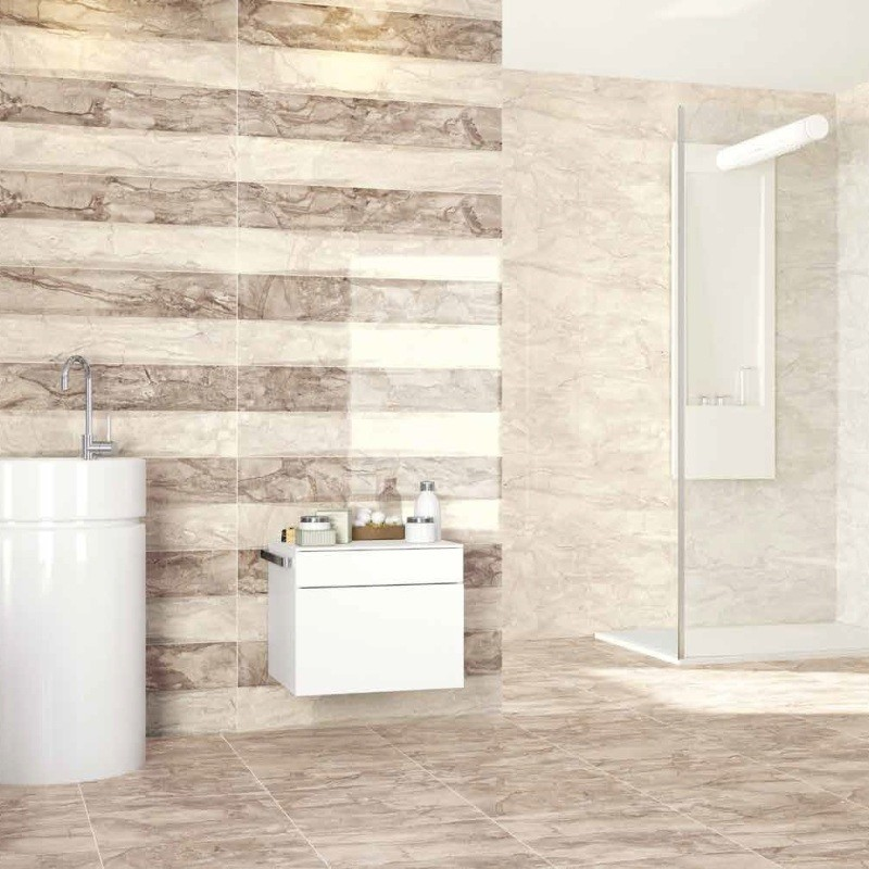 minimalist bathroom idea with drum shaped sink in white floating white cabinet walk in shower with mirror glass panels and door high gloss tiles for walls and floors