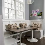 Modern Banquette Set With White Wooden Bench, Rectangle Table With White Legs And Brown Top