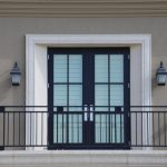 Modern Metal Balcony Railings Idea In Black Double Swing Glass Door With Black Trims And White Moulding