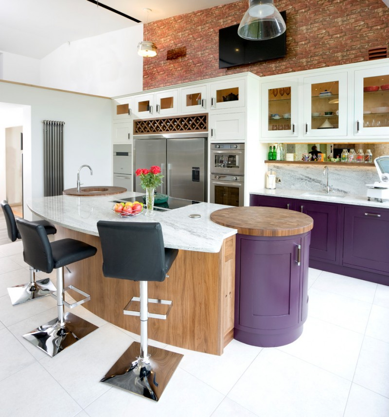 modern rustic kitchen idea with pop purple cabinets pop purple island white shaker cabinets stainless steel appliances white marble backsplash red bricks walls with white marble top black leather