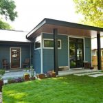 Modern Simple Small House In Blue With Glass Door, Window, And Yard