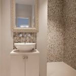 Mosaic Tiles For Bahroom Vanity With Single White Cabinet Standing White Sink And Faucet Mosaic Backsplash White Framed Vanity Mirror