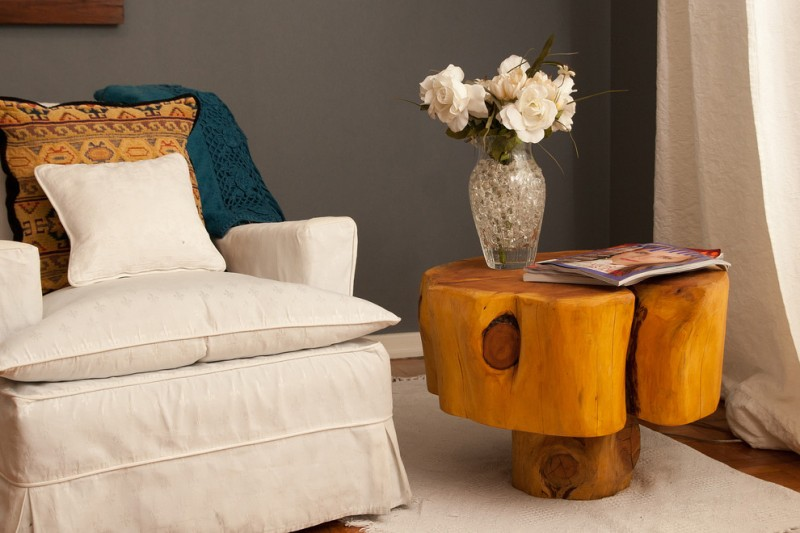mushroom side table from brown wood