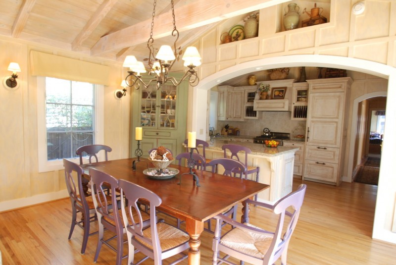 old look kitchen design idea with hardwood floors purple dining chairs hardwood dining table cathedral ceiling and board classic pendant lamp shabby white cabinetry