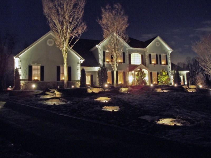 outdoor lighting randomly spread on the yard grass