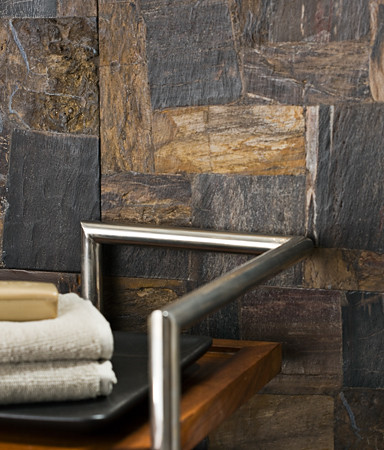 petrified wooden tiling idea in natural black and beige color combination