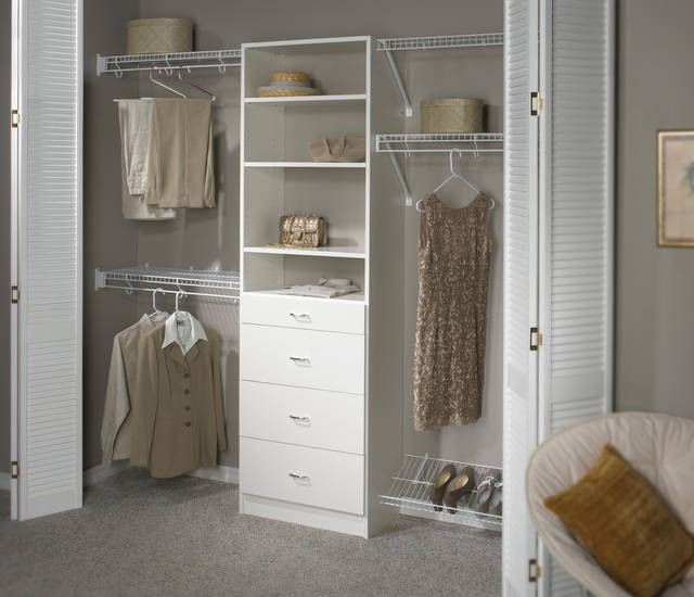 reach in closet organizer hanging sections drawer system upper shelves and footwear rack at base