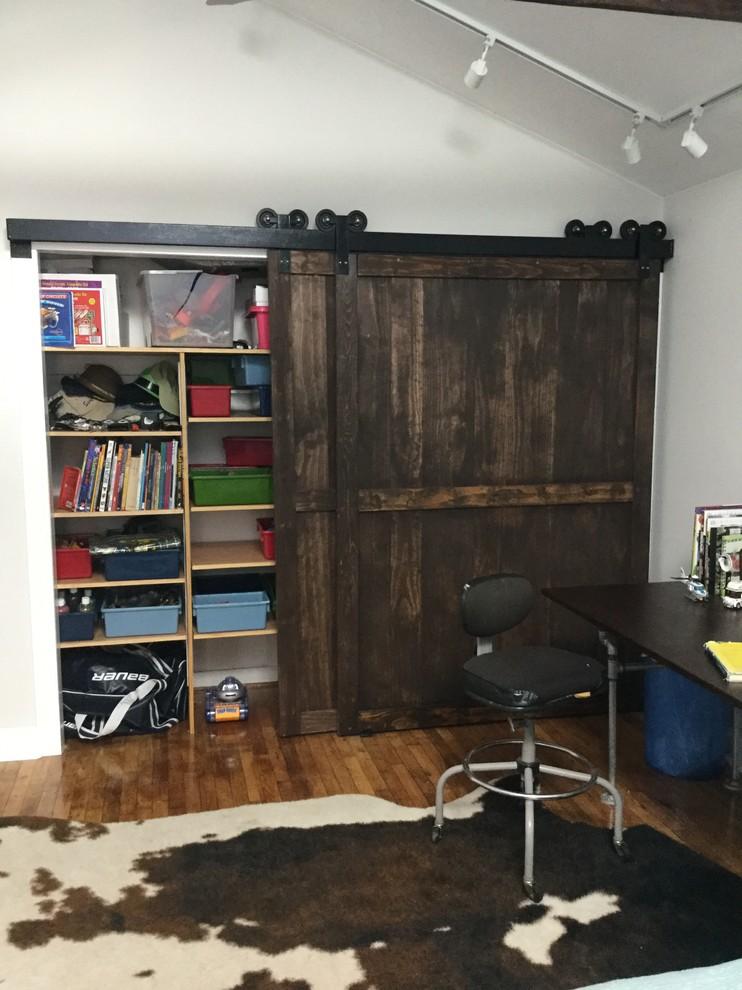 recessed closet design withdark shabby sliding barn door