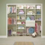 Recessed Walk In Closet In Mid Size Light Green Wall System White Floorings