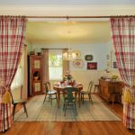 Red And White Plaid Curtain With Yellow Fastening