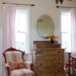 Red Polka Dots Half Curtains With Black Wrought Iron Rods Pull Up Glass Window With White Trims Oval Shaped Mirror With Chrome Frame Shabby But Cool Drawer System Rug With Thin Stripes Patterns