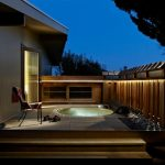 Redwood Hot Tub Outside The Master Bathroom With Vertical Wood Railing