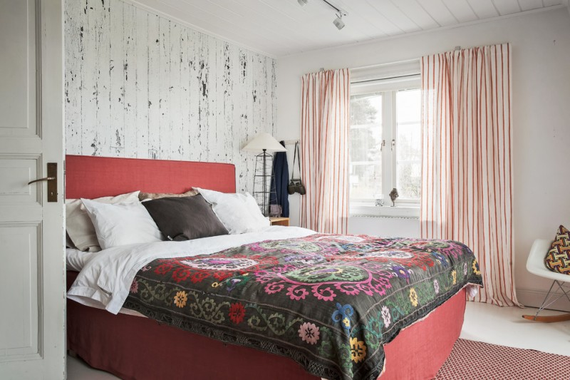 rustic bedroom design with bold grey bed sheet decorated with beautiful classic motifs red bed with red headboard washedwhite walls idea vertical striped curtains idea
