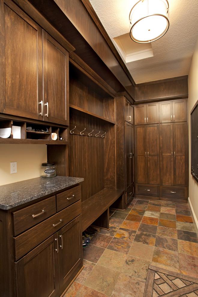 rustic glam walk in closet idea in hallway area