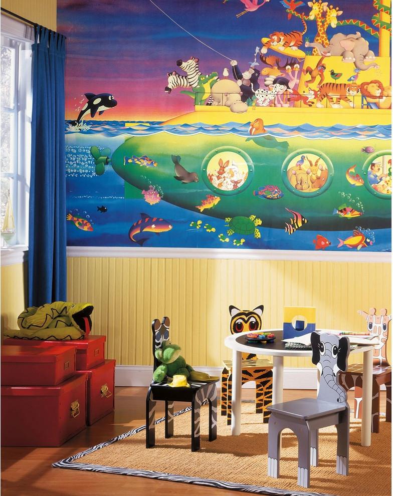 safari playroom with animal chair, animal painting, animal stuffed