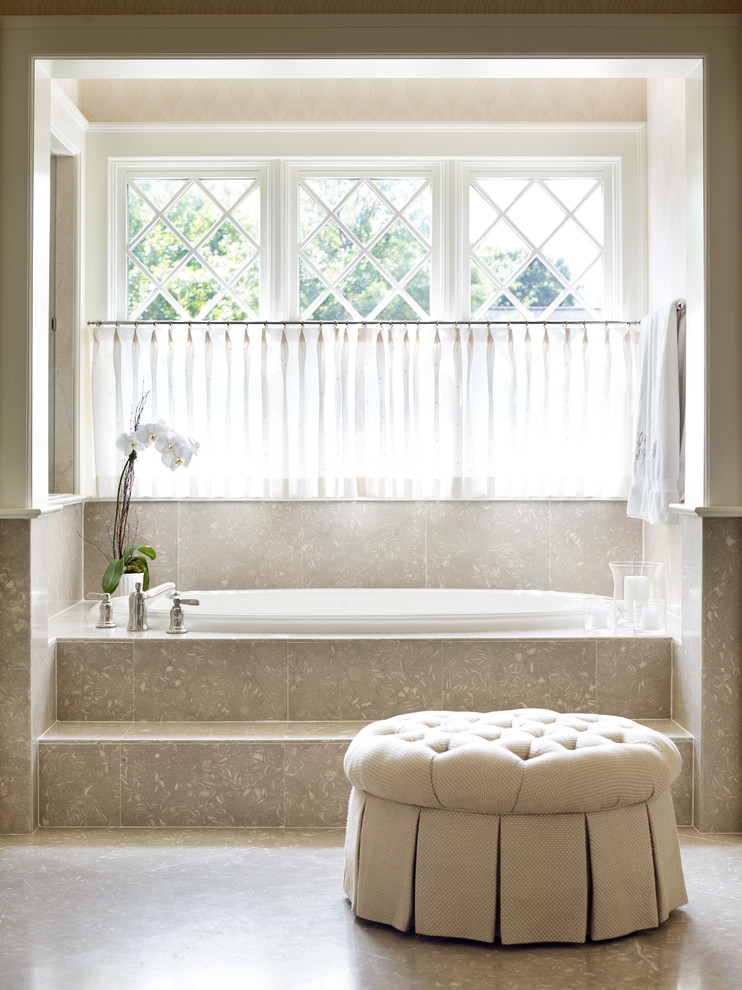 semi transparent white tier curtains idea glass window with white diamond shaped trims recessed bathtub with beige base soft beige ottoman chair with slipcover